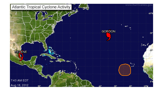 A storm tracker map shows the location of Tropical Storm Helene.