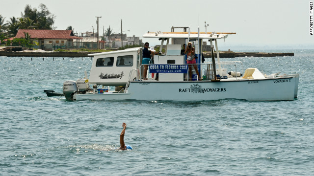 Diana Nyad strokes through the water Saturday at the Ernest Hemingway Nautical Club in Havana as she begins her swim.