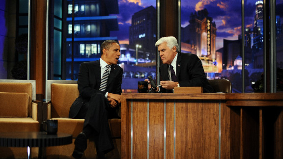 """President Barack Obama makes an appearance on """"The Tonight Show"""" with host Jay Leno in October 2011."""
