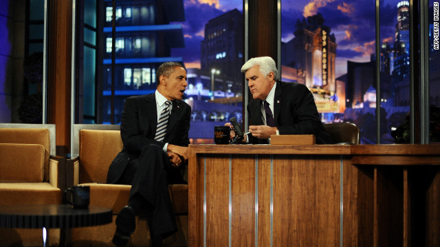 "President Barack Obama makes an appearance on ""The Tonight Show"" with host Jay Leno in October 2011."