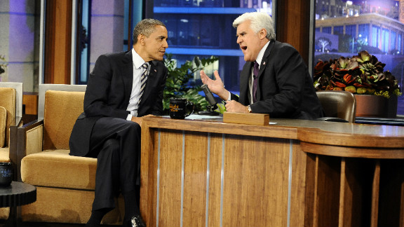"""Jay Leno speaks with President Barack Obama on """"the Tonight Show with Jay Leno"""" in October."""