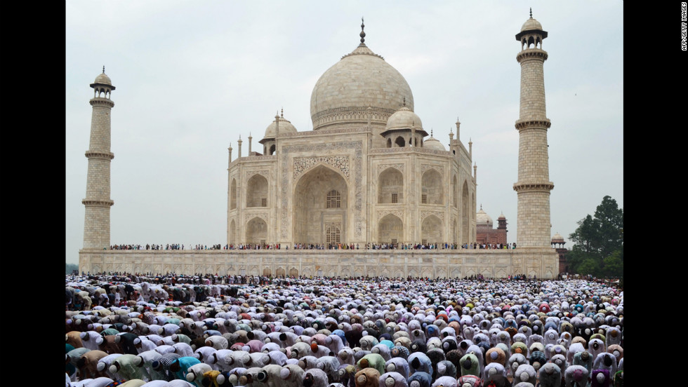 Indian Muslim devotees offer Eid al-Fitr prayers at the historic Taj Mahal in Agra on Monday, August 20. The three-day festival begins after the sighting of a new crescent moon. During Ramadan, devout Muslims abstain from food, drink, smoking and sex from dawn to dusk.