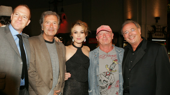 "From left, New Line's Toby Emmerich, Bob Shaye, actress Keira Knightley, director Scott and producer Samuel Hadida arrive at the premiere of ""Domino"" in Hollywood in 2005."