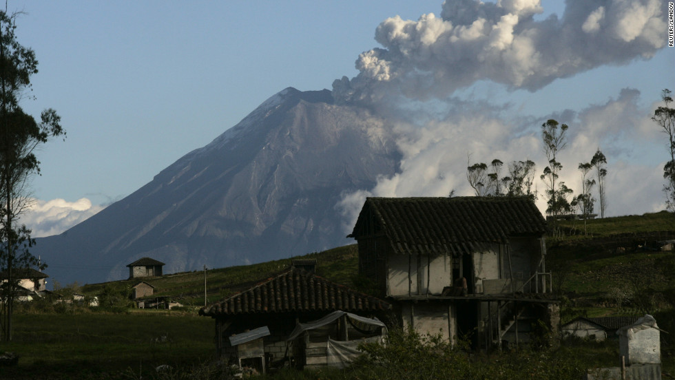 Clouds of gas and ash from Tungurahua are visible Monday, August 20, in Banos, a town at the foot of the volcano.