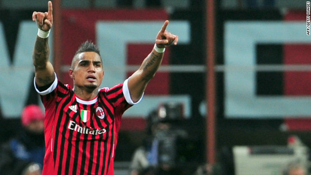 AC Milan's Prince Kevin Boateng celebrates after scoring at San Siro stadium on February 15, 2012 in Milan.