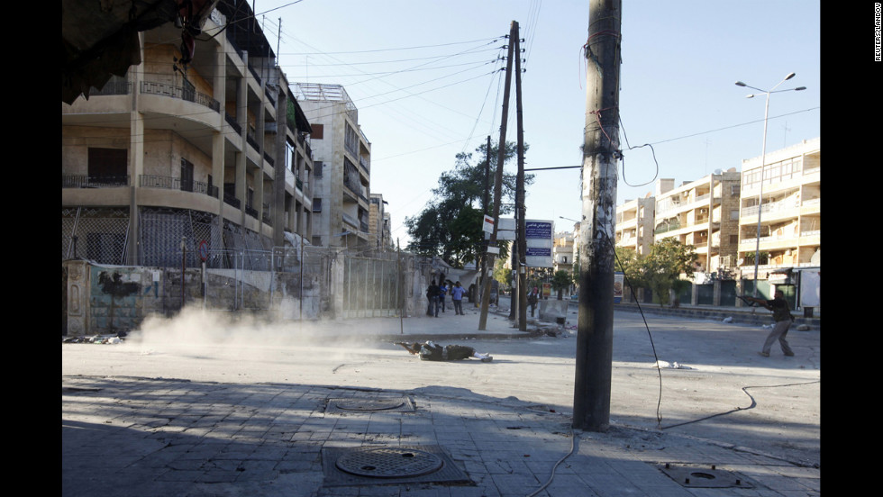 A skirmish in the street of Aleppo's Saif al-Dawla district between members of the Free Syrian Army and Syrian army soldiers on August 20.