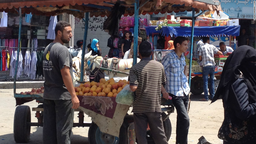 Vendors in Gaza City have food to sell but some people are reporting shortages because of the clampdown at the smuggling tunnels.