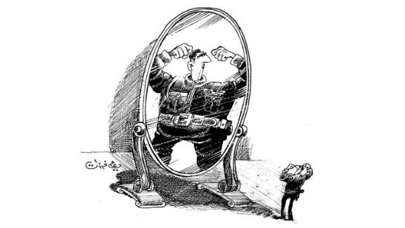 A cartoon depicting Syrian President Bashar al-Assad by Syrian cartoonist Ali Ferzat , shortly before Ferzat's hands were broken in an attack.