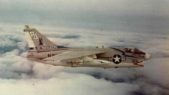 Bob Besal took this photograph in October 1974 during a NATO exercise. It shows a Vought A-7C nearly identical to the one he was in when it was involved in a midair collision two months later.