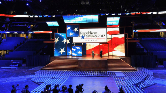 The stage inside of the Tampa Bay Times Forum ahead of the Republican National Convention. Thousands will decend on Tampa for the four day convention ,August 27-30.