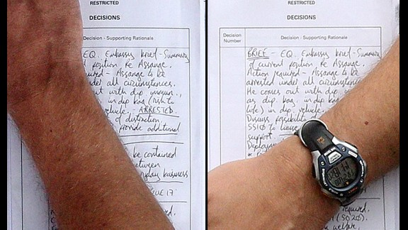 A zoomed in version of the document carried by the police officer.