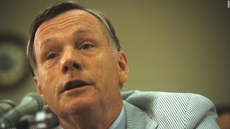 Neil Armstrong talks about the space program during an appearance before a U.S. House committee in 1986.