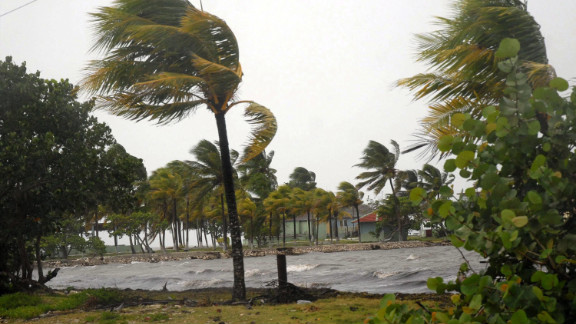 Strong winds bend palm trees in Cuba