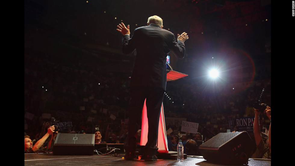 Former Republican presidential candidate Ron Paul speaks in the Sun Dome at the University of South Florida in Tampa on Sunday.
