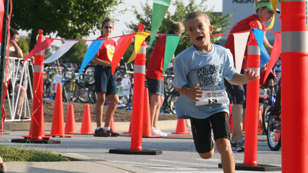 Waves of kids go through the race stages as trackers on their ankles keep the official times.