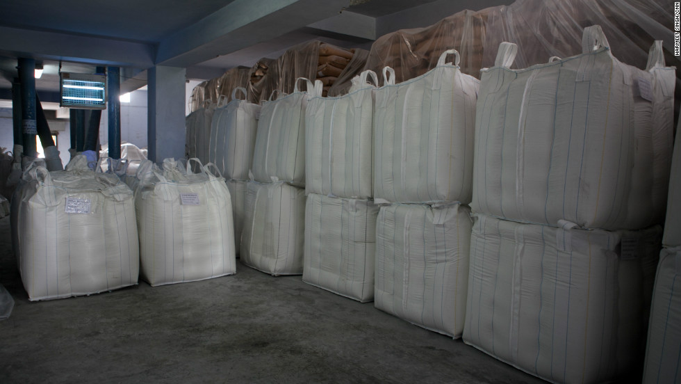 Bags of guar gum powder are ready to be exported to the U.S.