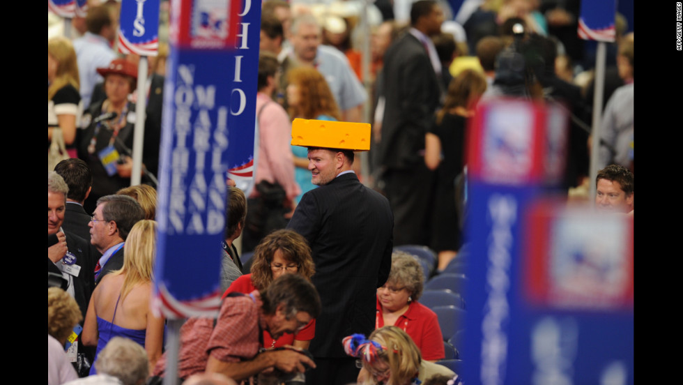A delegate from Wisconsin sports a cheese hat at the Tampa Bay Times Forum.