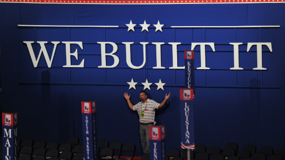"""""""We Built It"""" is Tuesday's theme at the GOP convention in Tampa, Florida"""
