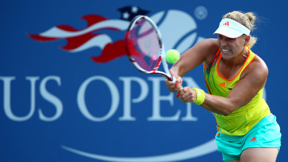 Angelique Kerber of Germany returns a shot during her women