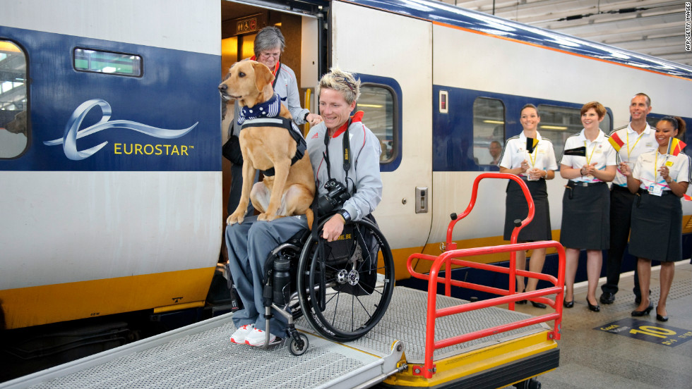 Marieke Vervoort of Belgium's Paralympic team arrives by Eurostar at St Pancras International station in London on August 26.