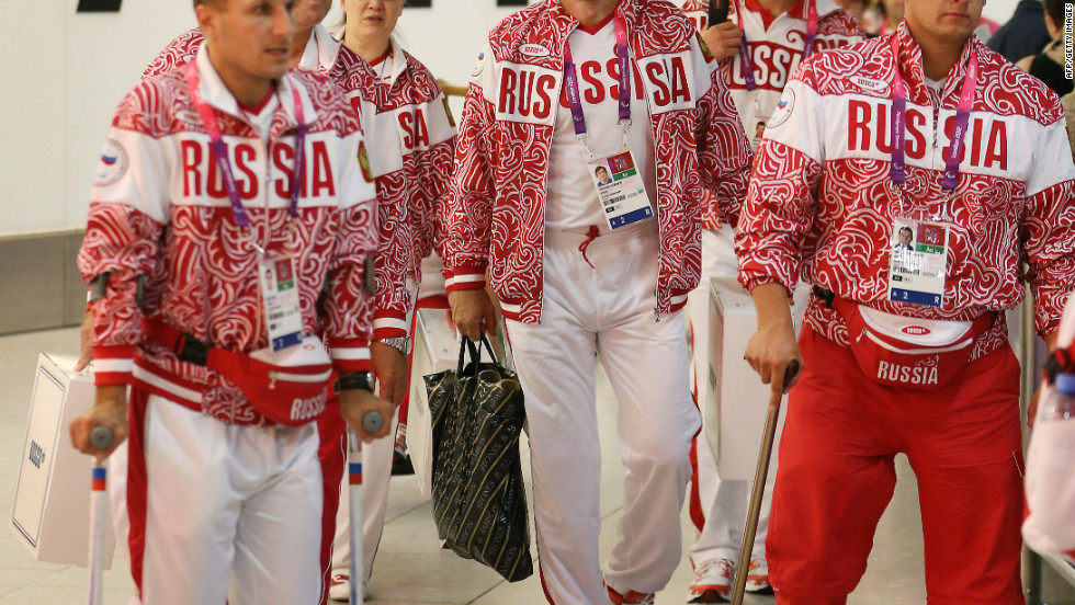 Russian Paralympians arrive at Heathrow's Terminal Four on August 22 in London.