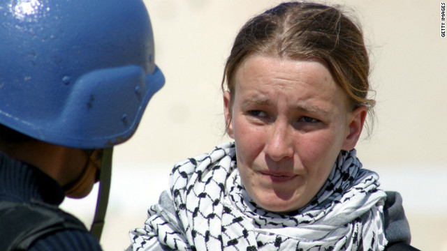 American protester Rachel Corrie, 23, was killed in 2003 while trying to block the bulldozer from razing Palestinian homes.