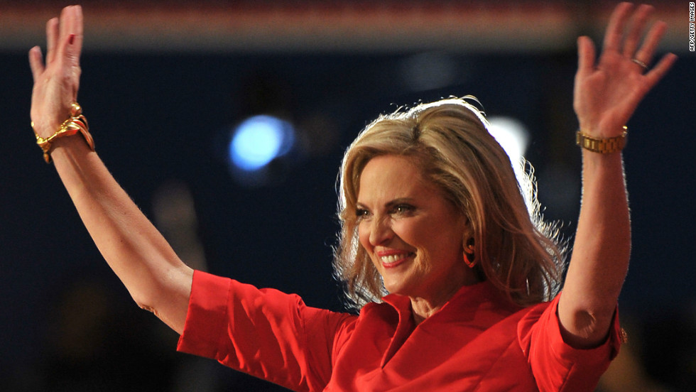 Ann Romney, Republican presidential candidate Mitt Romney's wife, greets a crowd of supporters on Tuesday.