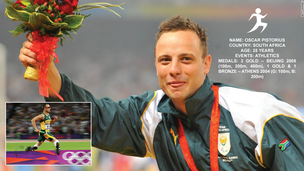 "South Africa's ""Blade Runner"" Oscar Pistorius made history at London 2012 by becoming the first double amputee to compete on the track and make an Olympic final. He is the favorite in the Paralympics 100 meters run."