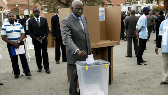 Dos Santos casts his ballot on September 05, 2008, at the polling station behind the presidential palace in Luanda. MPLA won the last elections with a landslide 82% of the vote.