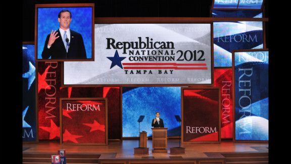 Former Republican presidential candidate Rick Santorum addresses the crowd Tuesday.