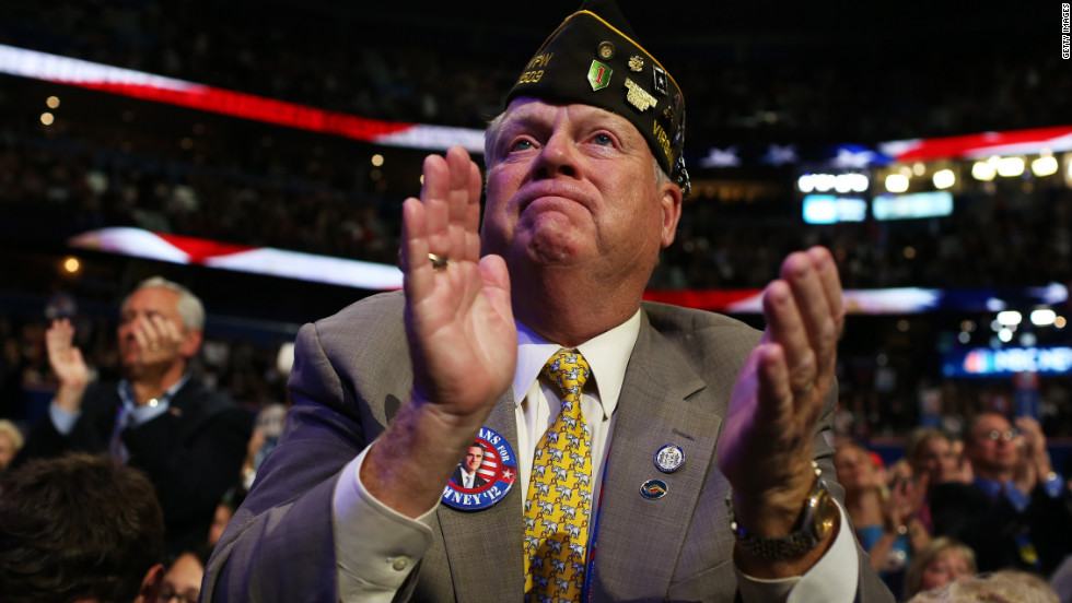 A veteran claps during Ann Romney's speech.