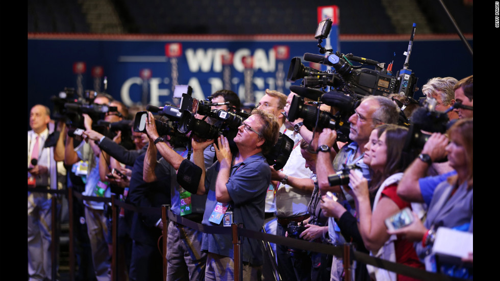 Journalists and media work the third day of the Republican National Convention.
