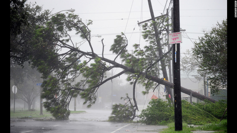 A fallen tree blocks a road in New Orleans as Isaac batters the city and surrounding region, flooding homes and driving stormy waters over the top of at least one levee.