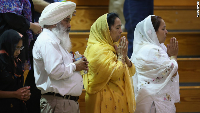 Sikhs gather in prayer.