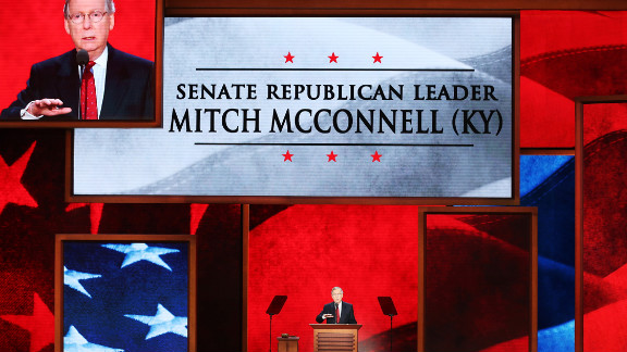 Senate Minority Leader Mitch McConnell of Kentucky speaks during the third day of the Republican National Convention.