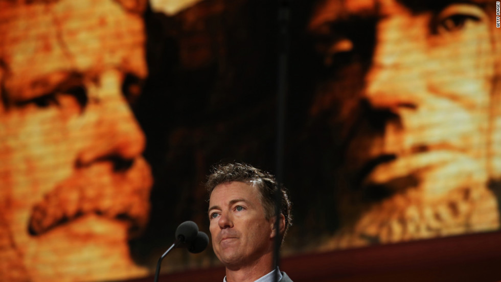 Sen. Rand Paul of Kentucky speaks during the third day of the Republican National Convention. His father, U.S. Rep. Ron Paul of Texas, was one of the hopefuls for the 2012 nomination.