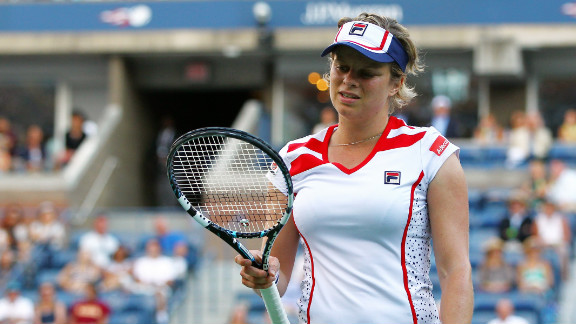 Kim Clijsters of Belgium reacts during her second round match loss to Laura Robson of Great Britain.