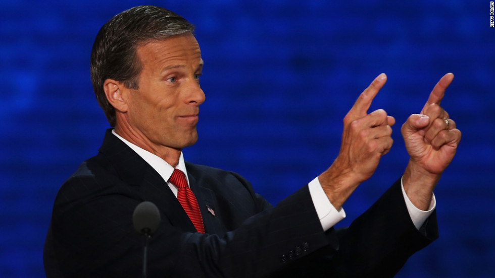 Sen. John Thune of South Dakota speaks during the third day of the Republican National Convention.