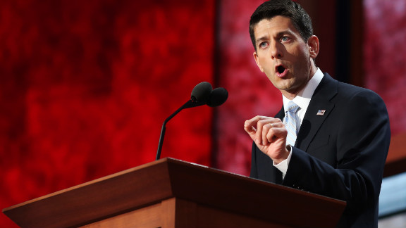 GOP vice presidential nominee Paul Ryan addresses the Republican National Convention on Wednesday night.