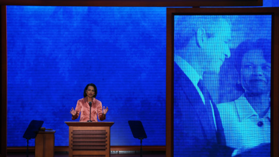 Former Secretary of State Condoleezza Rice speaks at the Tampa Bay Times Forum on Wednesday. She accused President Barack Obama of yielding the nation