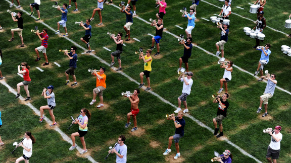 The Blue Band, with a roster of more than 300 students, practices on the first day of school.
