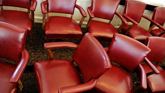 The jury chairs in the courtroom where Sandusky stood trial sit empty at the Centre County Courthouse in Bellefonte, Pennsylvania. Sandusky was found guilty of 45 counts of sexual abuse of young boys over a 15-year period. Sandusky has yet to be sentenced.