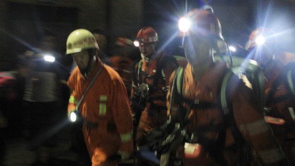 Rescuers search for survivors at a coal mine after a gas explosion in Panzhihua in China's Sichuan province Wednesday.
