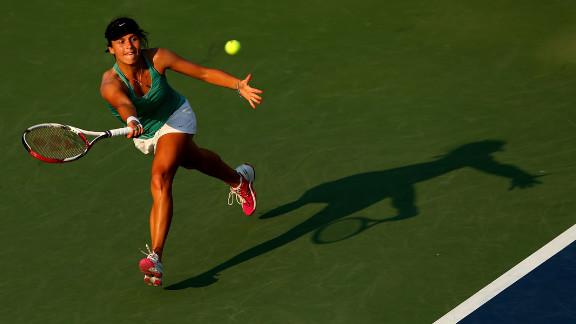 Tatjana Malek of Germany returns a shot during her women