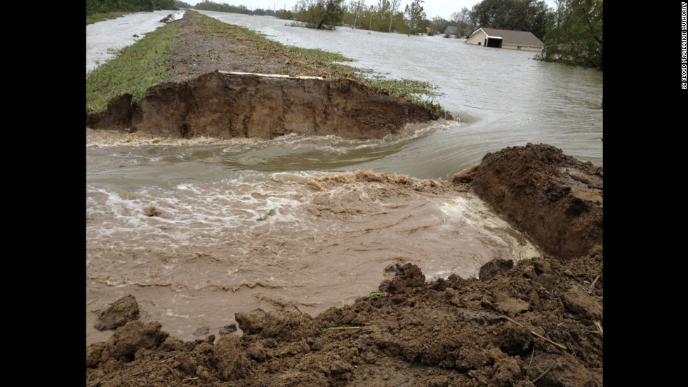 The Lake Borgne Basin Levee District and other government agencies intentionally breached the Caernarvon Diversion to help drain flood waters in Plaquemines Parish, Louisiana.