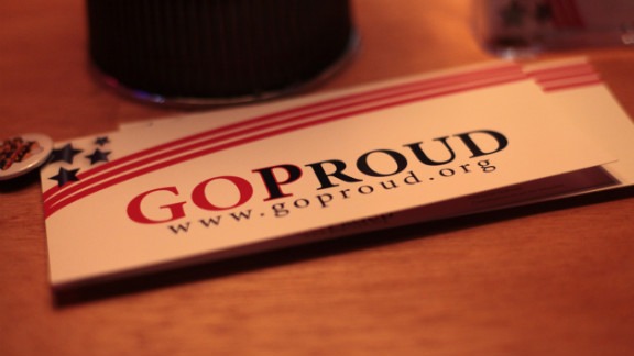 A stack of GOProud bumper stickers sit on the bar in the historic Tampa neighborhood.