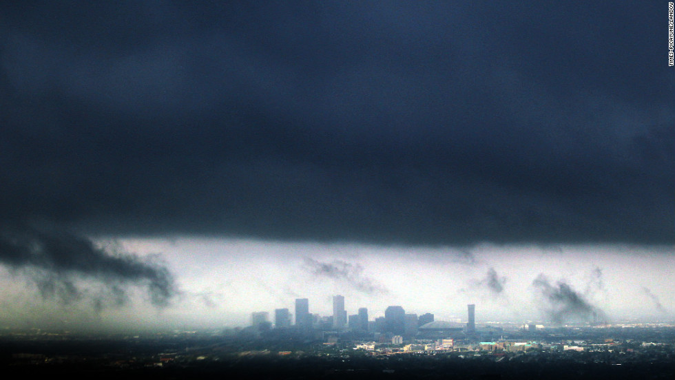 A heavy band of storms hovers ominously over New Orleans in the aftermath of  Isaac on Thursday.