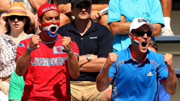Luxembourg fans cheer on Mandy Minella during her women