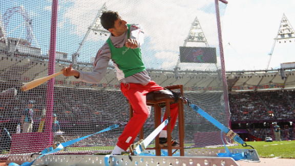Lahouari Bahlaz of Algeria competes in the men