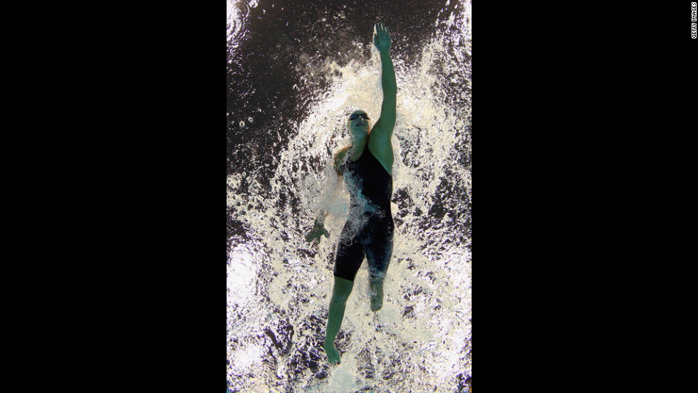 Sophie Pascoe of New Zealand in action during the women's 50-meter freestyle.